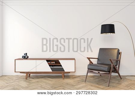 Mid Century Modern Interior Empty Room With White Wall, Dresser, Console, Lounge Chair, Armchair, Fl