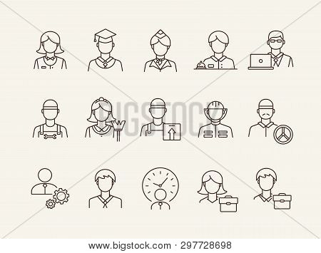 Workers Icons. Set Of Line Icons On White Background. Courier, Businessman, Stewardess. Occupation C