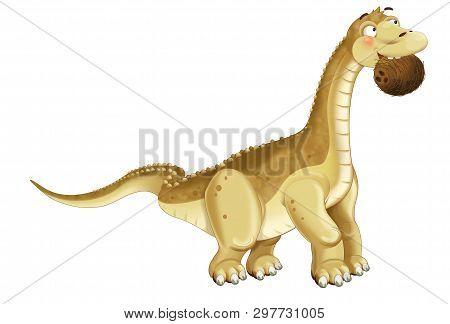 Cartoon Dinosaur Diplodocus Apatosaurus Holding Coconut Illustration For Children