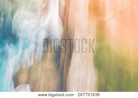 Sea, Rocks And Landscape, Taken From The Air.  Motion And Blur Done In Camera For An Abstract And Cr