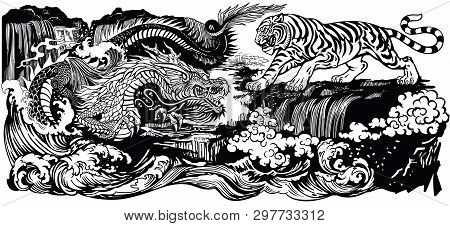 Chinese East Asian Dragon Versus Tiger In The Landscape With Waterfall And Water Waves . Two Spiritu