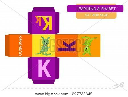 Сut And Glue The Cube: Letter K. Educational Game For Kids. Cute Zoo Alphabet A-z In Vector For Chil
