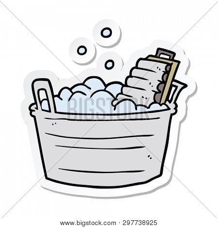 sticker of a cartoon old washboard and bucket