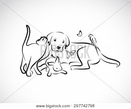 Vector Group Of Pets - Dog, Cat, Parrot, Rabbit, Butterfly, Hummingbird Isolated On White Background