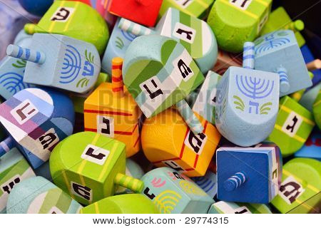 Close Up Of Hanukkah Dreidels