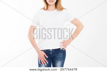 Cropped Portrait Of Young Girl In Tshirt. T-shirt Design, People Concept - Closeup Of Woman In White