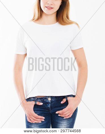 Cropped Portrait Woman In White T-shirt Isolation On White Background, Blank,copy Space