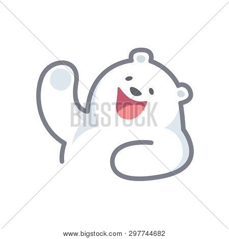 White Bear Cartoon Character Cute Isolated On White Background, Beautiful Teddy Bear Cartoon Charact