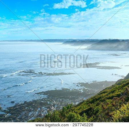 Morning Ocean Coast View From Shore (near Saint-jean-de-luz, France, Bay Of Biscay).