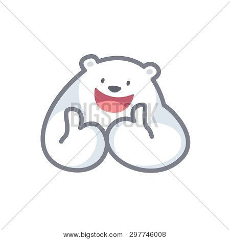 White Bear Cartoon Character Cute Isolated On White Background, Beautiful Teddy Bear Cartoon Charact