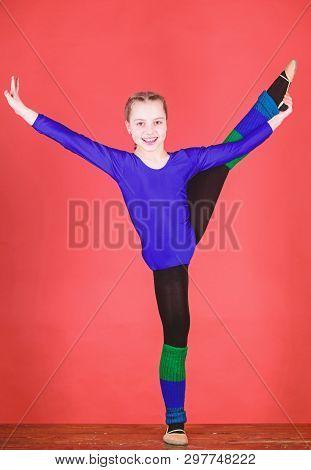 Flexible healthy body. Future star of rhythmic gymnastics. Rhythmic gymnastics sport combines elements ballet dance. Try hard. Girl little gymnast sports leotard. Physical education and gymnastics poster