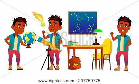 Astronomy, Astrophysics Student Cartoon Characters Set. Astronomy Faculty, Space Exploration. Stars