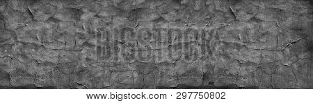 Black Cracked Concrete Wall Wide Texture. Fine Textured Old Cement Surface Panorama. Dark Gray Panor