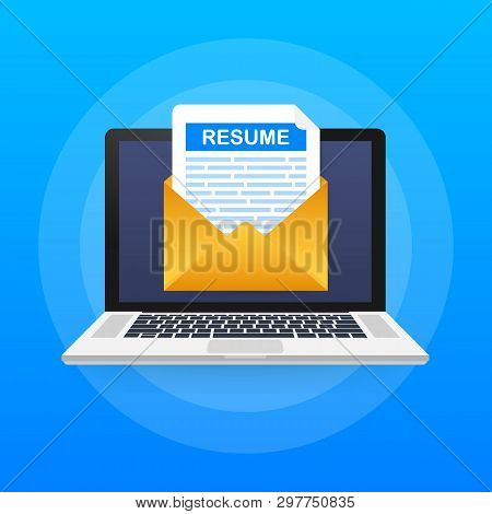 Laptop And Envelope With Resume Letter. Employment, Recruiting. Cv, Job Application Form. Vector Sto
