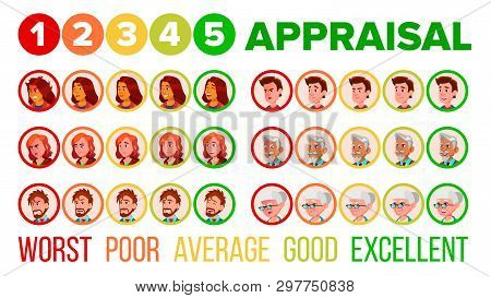 Five Steps Mood Appraisal Icons Set. User Satisfaction Appraisal System, Service Quality Evaluation, Ranking. Worst, Poor, Average, Good, Excellent Rating. User Feedback Flat Illustration poster