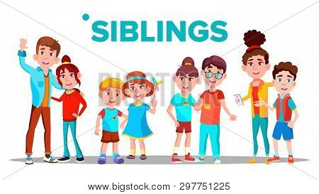 Siblings, Cheerful Brothers And Sisters Banner Concept. Siblings, Family Relationship Hand Drawn Pos