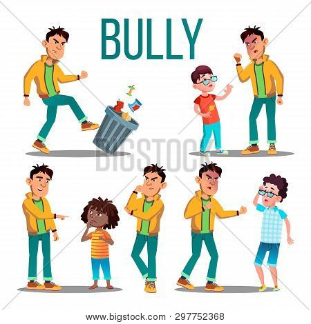 Bully Child . Angry Bully Kid. Teenager Victim. Sad Boy, Girl Child Illustration