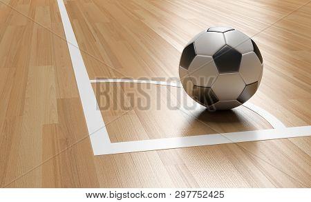 Football On Wooden Court Floor Corner Close Up With Light Reflection.soccer Court Futsal 3d Renderin