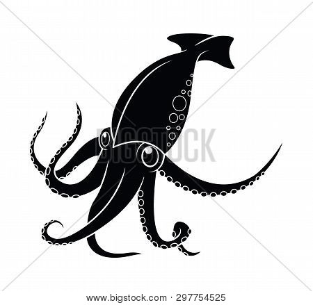 Squid, Octopus And Cuttlefish Silhouette In Icons And Symbol Isolated On White Background, Vector Il