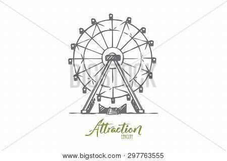 Attraction, Ferris, Wheel, Amusement, Entertainment Concept. Hand Drawn Ferris Wheel Attraction Conc