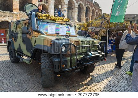 Verona, Italy - October 20, 2018: Iveco Lmv Light Multirole Vehicle Is A 4wd Tactical Vehicle Develo