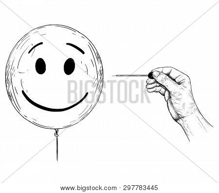 Cartoon Drawing Conceptual Illustration Of Hand With Needle Or Pin Popping Balloon With Human Face R