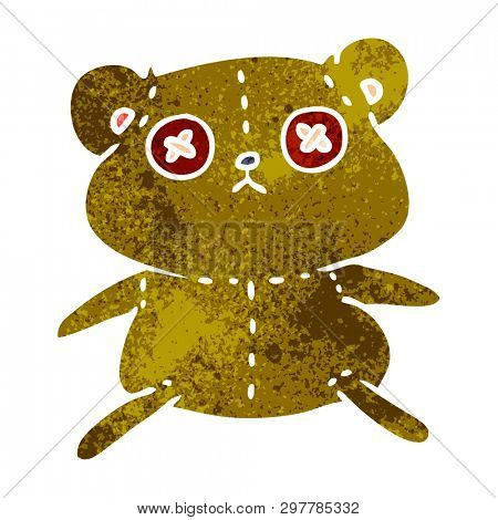 freehand drawn retro cartoon of a cute stiched up teddy bear
