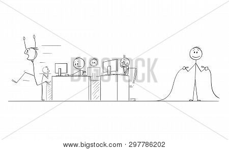 Cartoon Stick Figure Drawing Conceptual Illustration Of Group Of Crazy Businessmen Or Office Workers