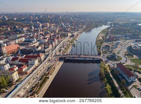 Drone View On Roundabout In Gorzow Wielkopolski And Warta River. Gorzow Wielkopolski Is A City In We