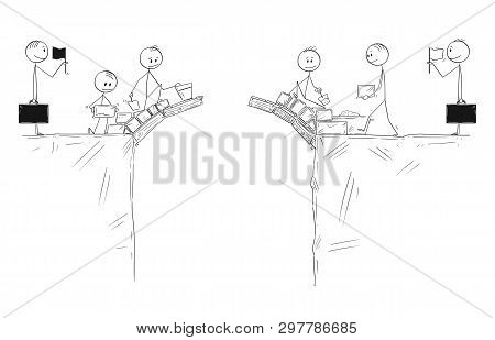 Cartoon Stick Figure Drawing Conceptual Illustration Of Two Groups Of Men Or Businessmen Building Br