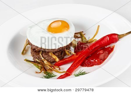 Scrambled Eggs And Cutlet With Red Pepper
