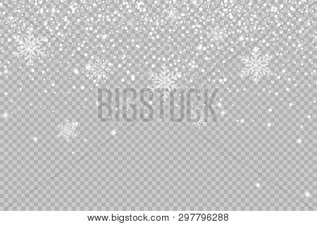 Christmas Background Made Of Snowflake And Snow On Transparent Background. Christmas Snow. Falling S