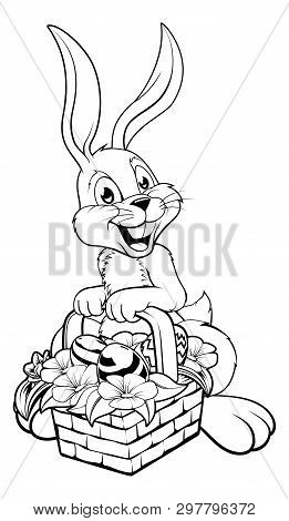 An Illustration Of The Easter Bunny In Black And White, Perfect For Printing, Photocopying Or Colori