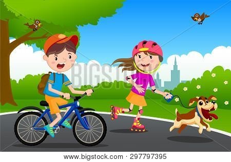 Vector Illustration Of Happy Children Playing In Playground. Children Play In The Park. A Boy On A B