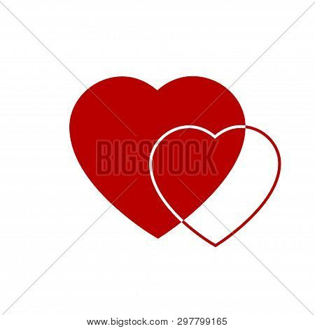 Two Red Hearts Icon. Hearts On Transparent Background. Love Icon. Hearts From Greeting Card On Valen