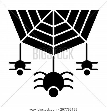Spider On The Web Solid Icon. Cobweb With The Spider Vector Illustration Isolated On White. Arachnid