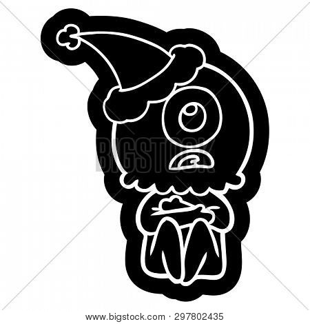 quirky cartoon icon of a cyclops alien spaceman wearing santa hat poster