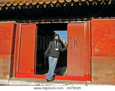 Tourist In Forbidden Doorway