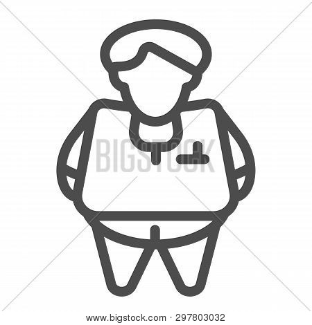 Fat Person Line Icon. Obesity Vector Illustration Isolated On White. Fat Man Outline Style Design, D