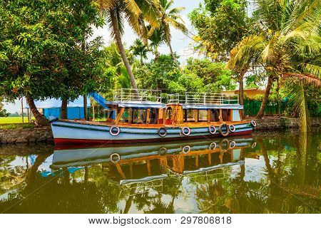 Boat In Alappuzha Backwaters In Kerala State In India