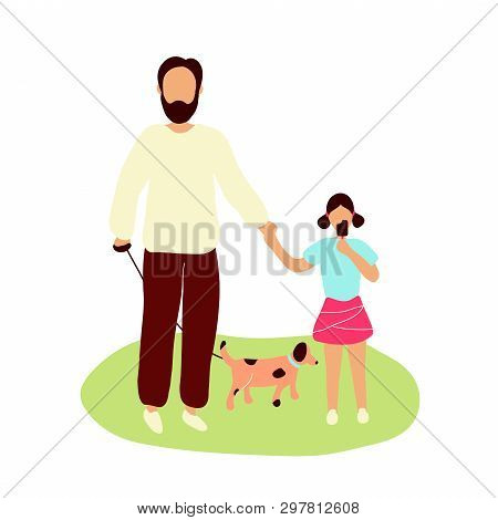 Father Walking Spotty Dog On Leash Together With Little Daughter Eating Chocolate Ice Cream. Flat Mo