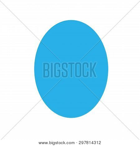 Blue Oval Basic Simple Shapes Isolated On White Background, Geometric Oval Icon, 2d Shape Symbol Ova