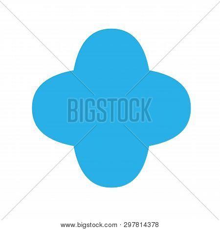 Blue Quatrefoil Basic Simple Shapes Isolated On White Background, Geometric Quatrefoil Icon, 2d Shap