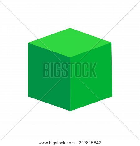Green Cube Basic Simple 3d Shapes Isolated On White Background, Geometric Cube Box Icon, 3d Shape Sy