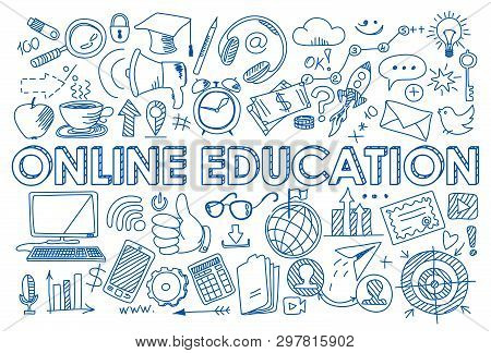 Hand Drawn Design Vector Illustration, Set Of Online Education Icons In Doodle Style, For Graphic An