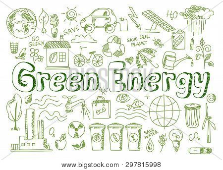 Hand Drawn Design Vector Illustration, Set Green Energy Icons In Doodle Style, For Graphic And Web D