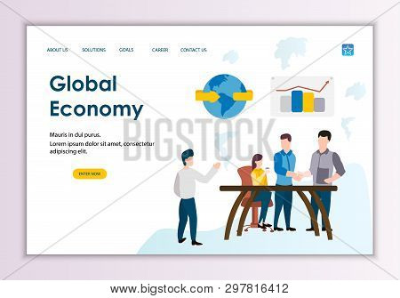 Creative Website Template Of Global Economy Concept, Modern Flat Design Vector Illustration