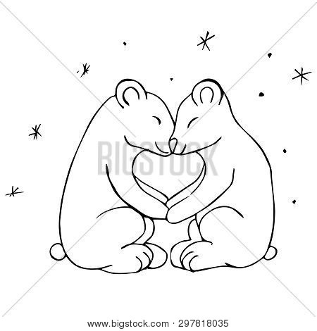 Black White Vector Illustration. Two Polar Bears Sit Under A Starry Sky And Hold On To Their Paws. T
