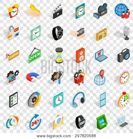 Modern Device Icons Set. Isometric Style Of 36 Modern Device Vector Icons For Web For Any Design
