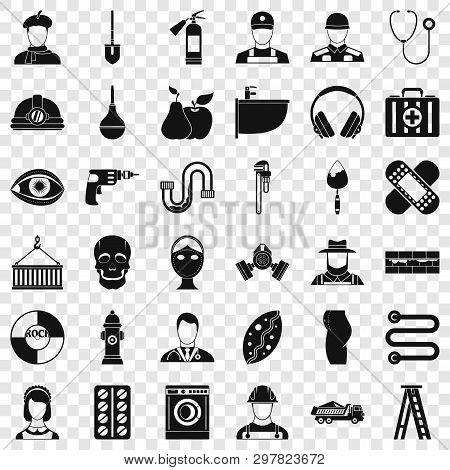 Good Occupation Icons Set. Simple Style Of 36 Good Occupation Vector Icons For Web For Any Design